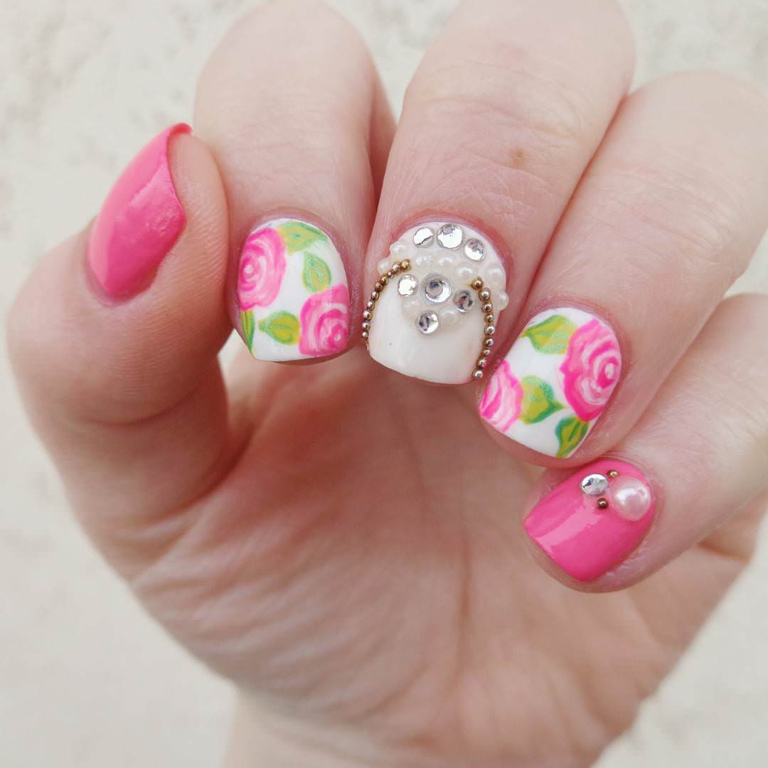 Stone with Rose Nail Design