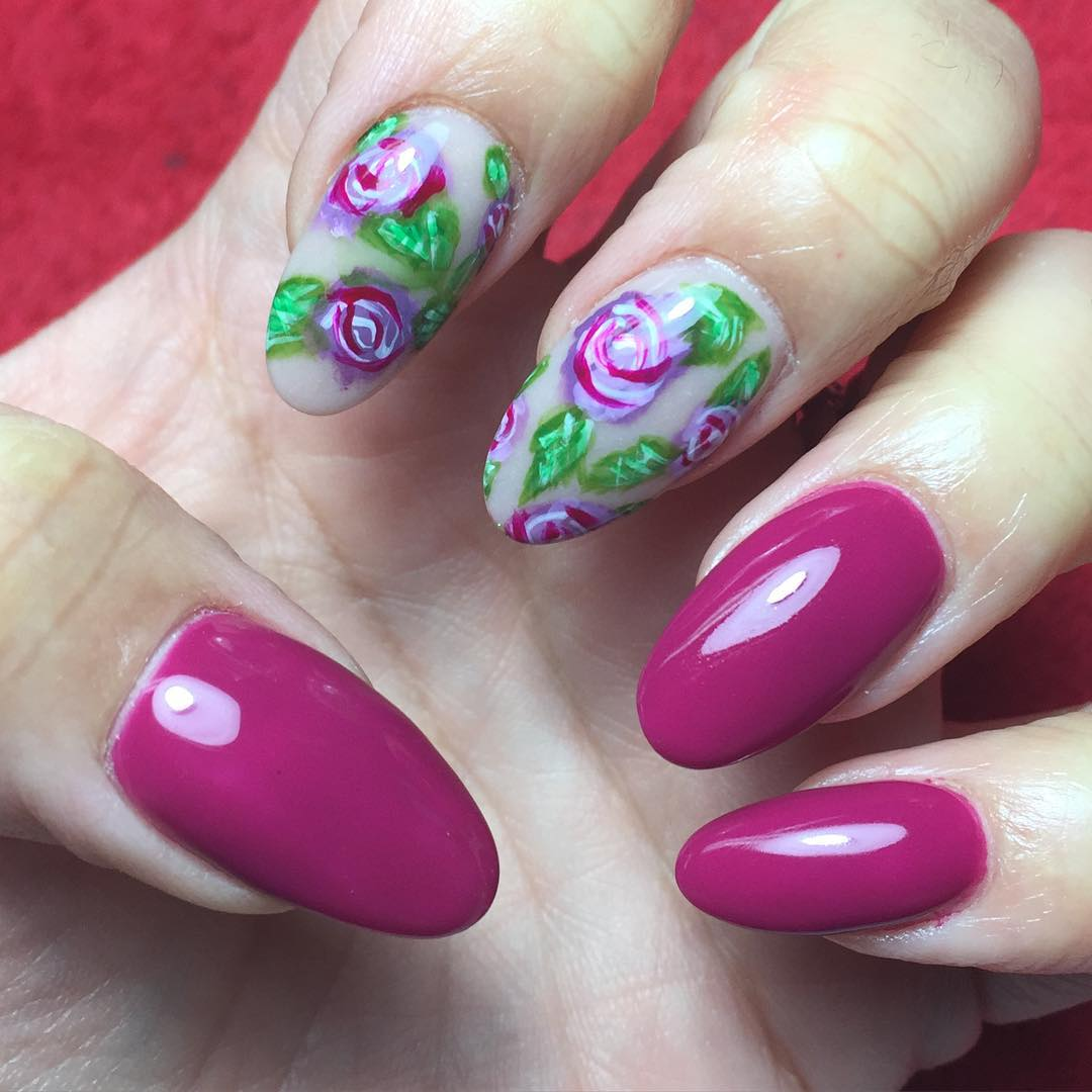 Purple Nail Rose Design