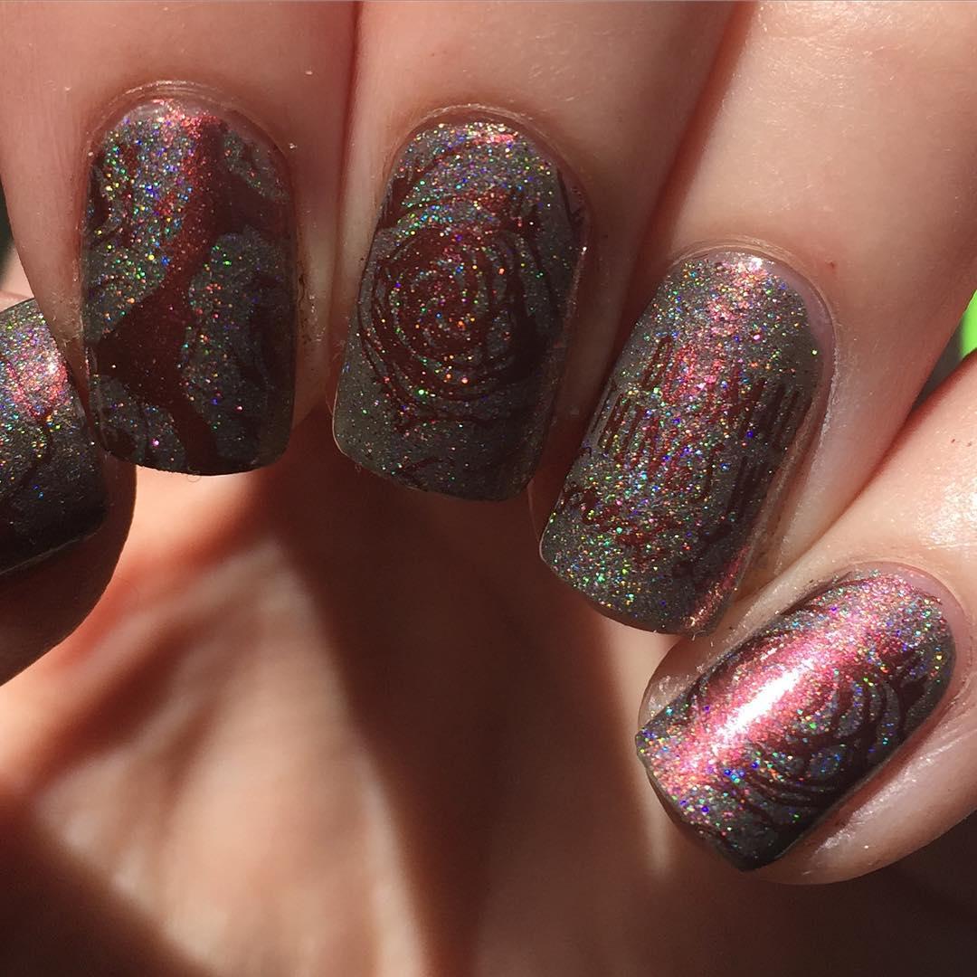 glittering rose nail design