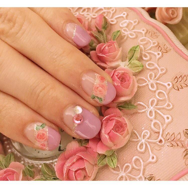 Light Pink Rose Nail Design