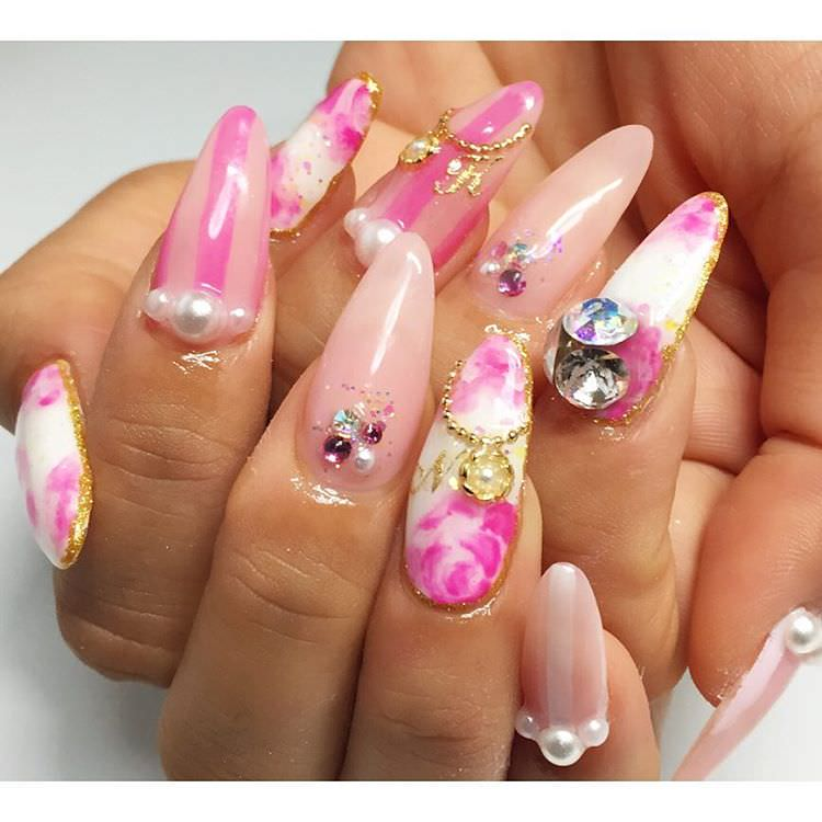Sharp Long Rose Nail Design
