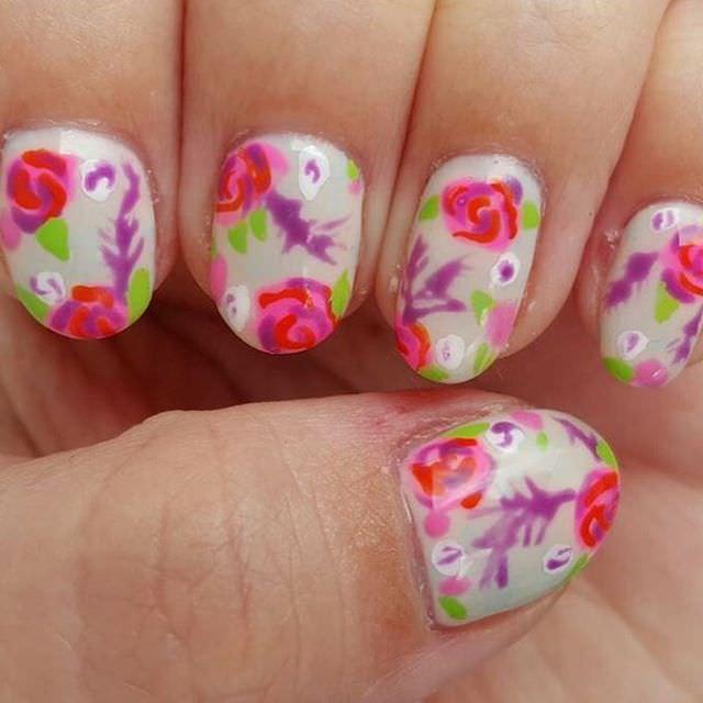 nice rose nail design