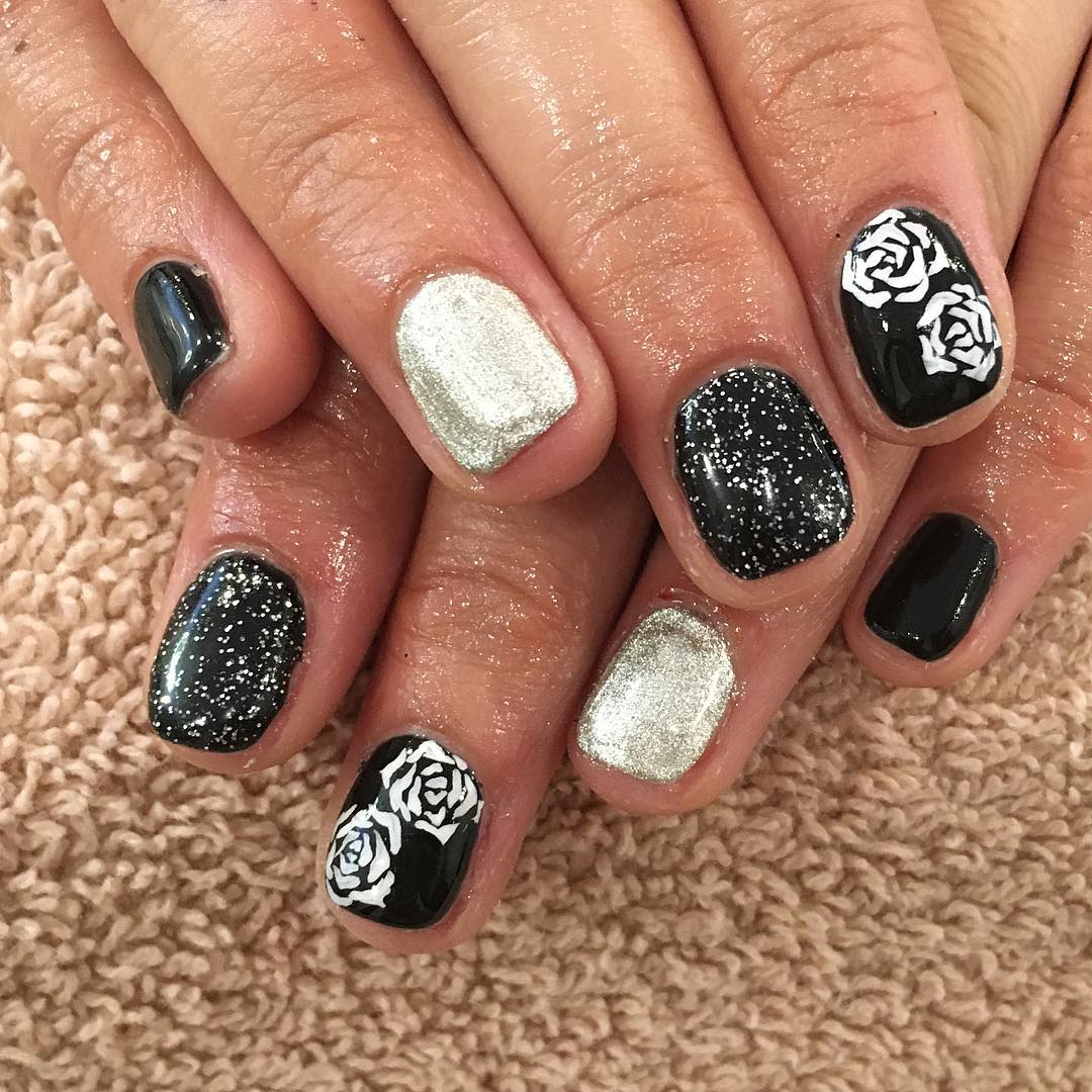 Glitter White and Black Nails - 27+ Rose Nail Art Designs, Ideas Design Trends - Premium PSD