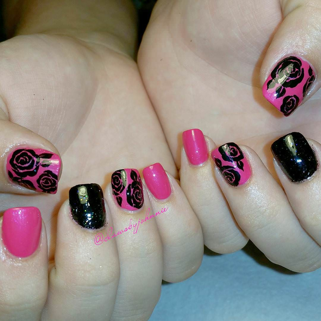 Pink & Black Nail Rose Design