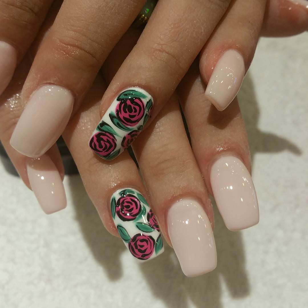 Pink & Green Rose Nail Design