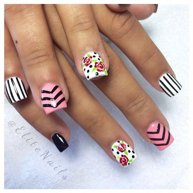 simple rose nail designs