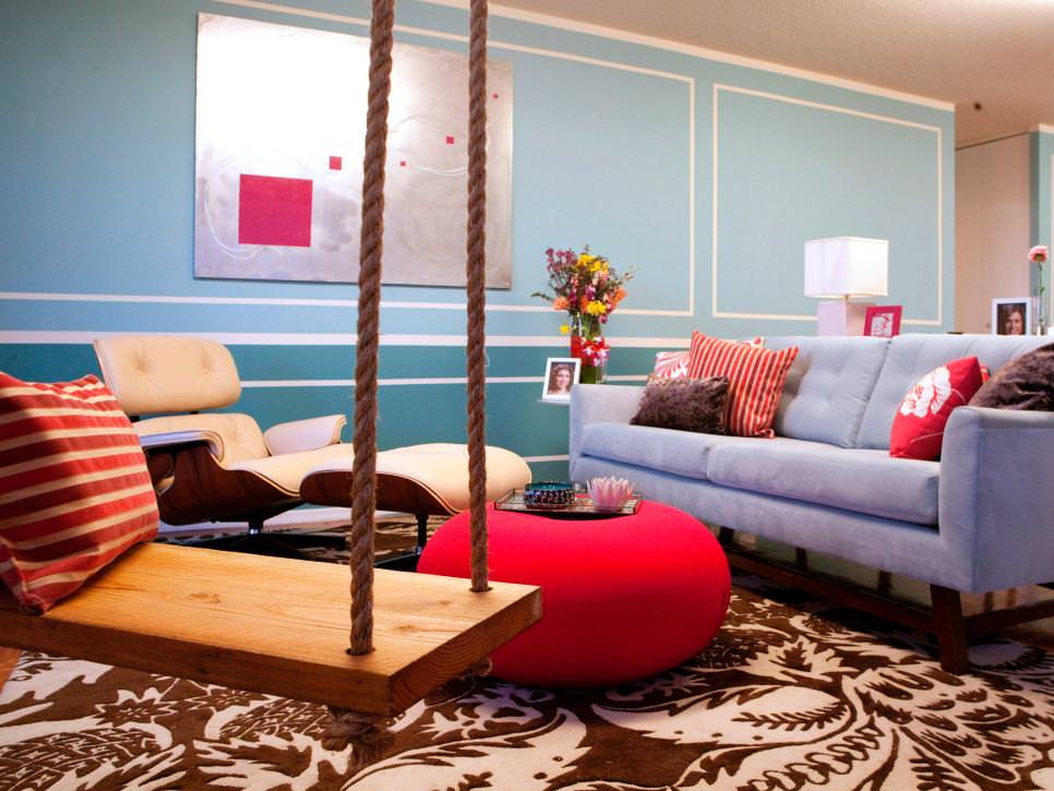 Eclectic Living Room With Turquoise Wall accent