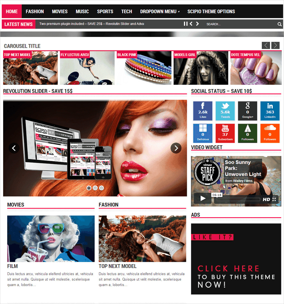 Scipio Responsive WordPress Magazine Theme