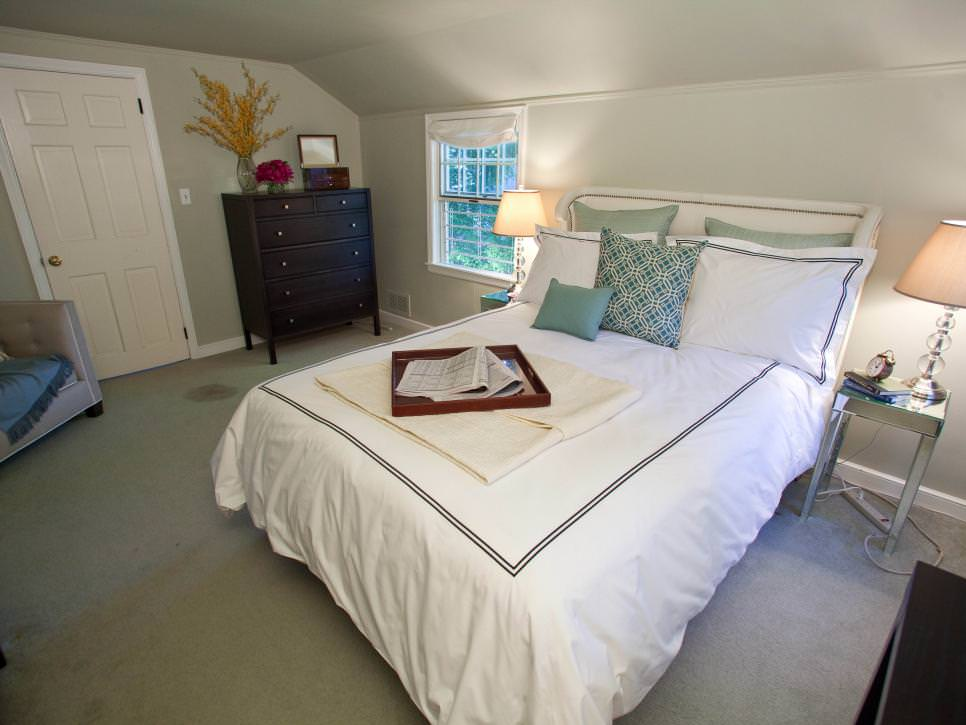 white transitional attic bedroom picture