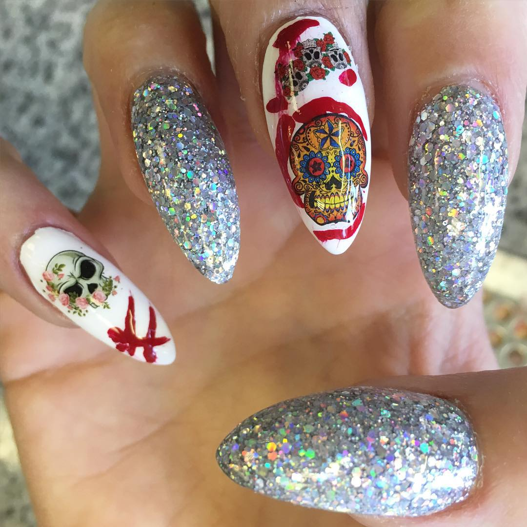 glittering nail skull design