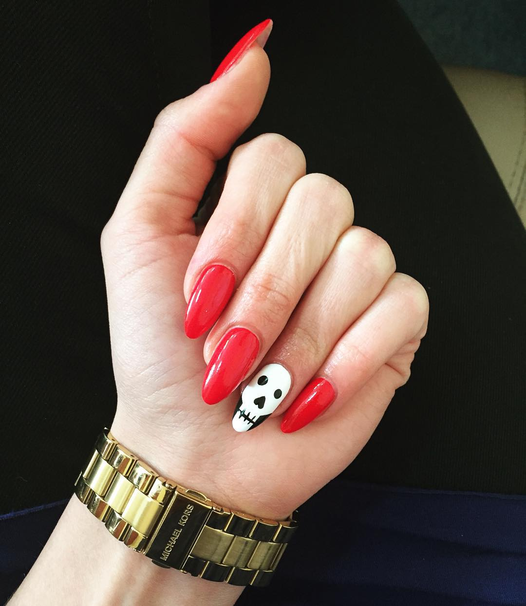 Red & White Skull Nail Design