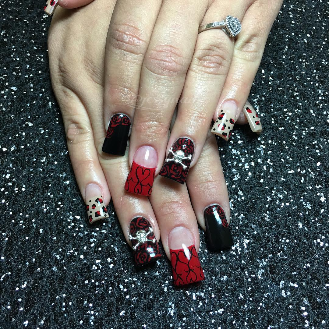 Black & Red Skull Nail Designs