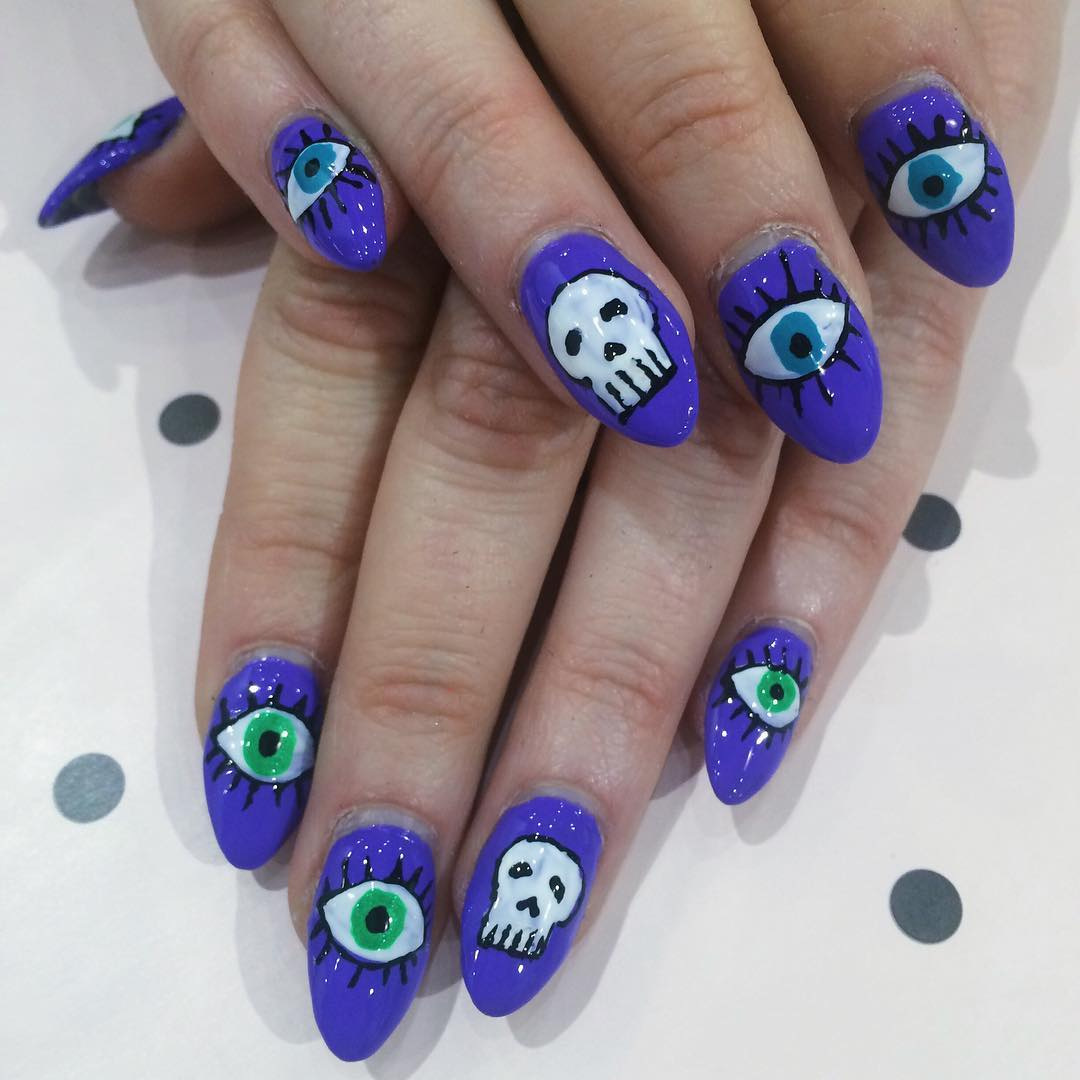 Blue & White Skull Nail Design