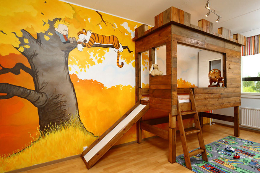 wooden kids bunk bed