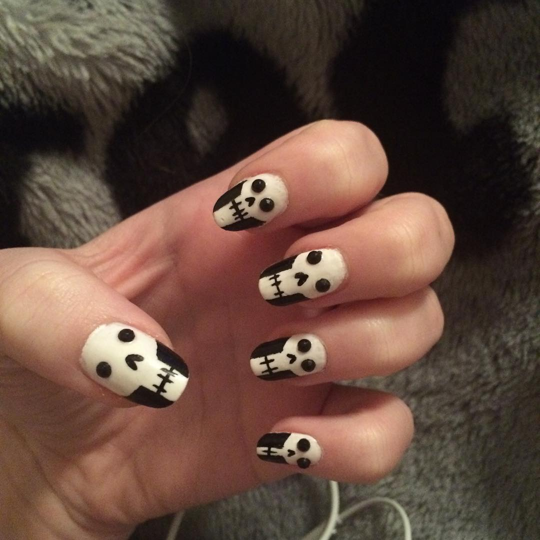 Latest Skull Nail Design