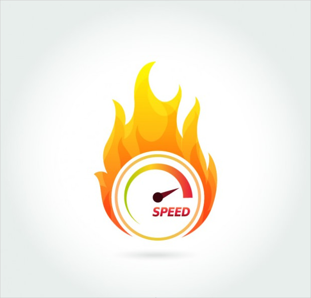 speedometer symbol with fire vector
