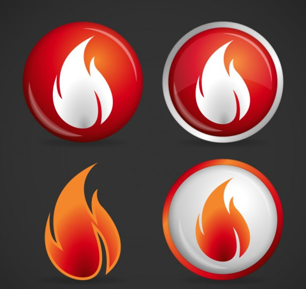 fire vector flame buttons