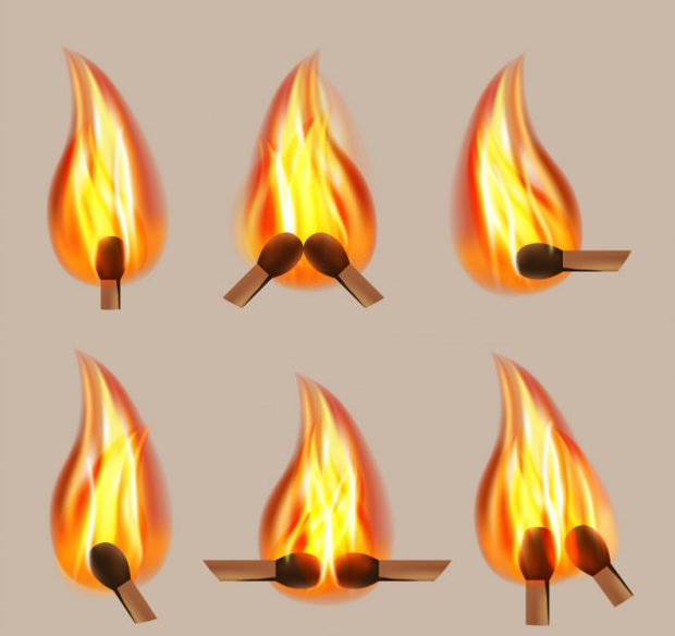 Buring Matches Graphic Vector