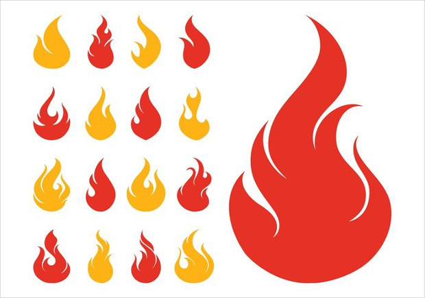 fire icon vector set