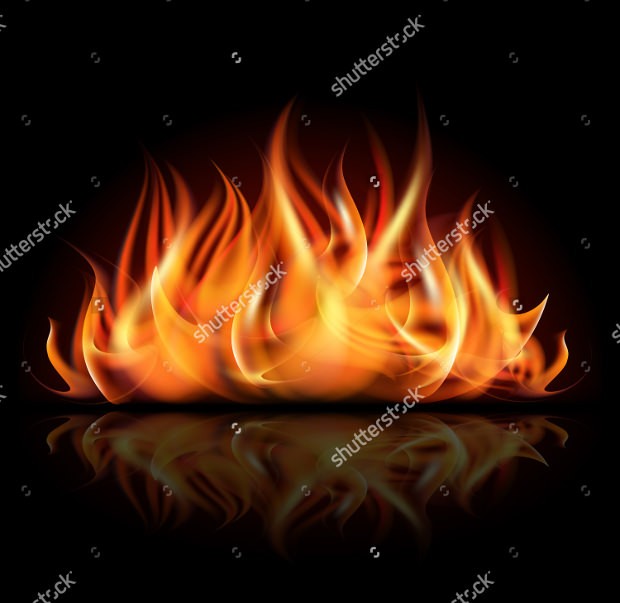 Fire Vector on Dark Background