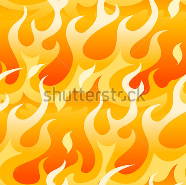 bright orange flames seamless pattern