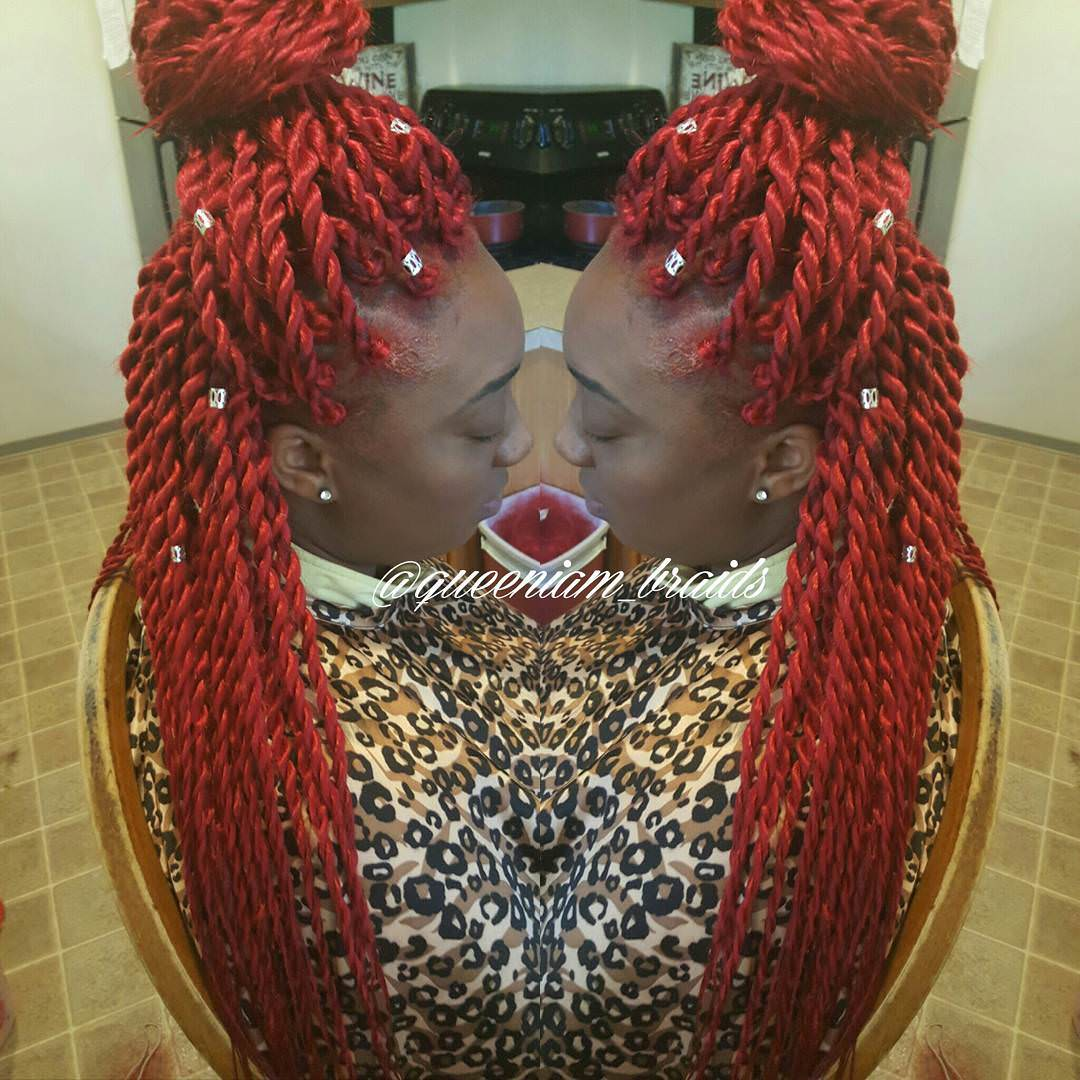 Red Colored Twisted Hair