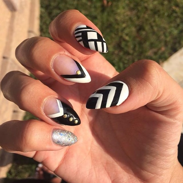 Trendy White and Black Nail Design