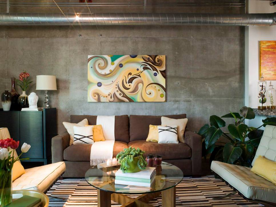 living room concrete wall design
