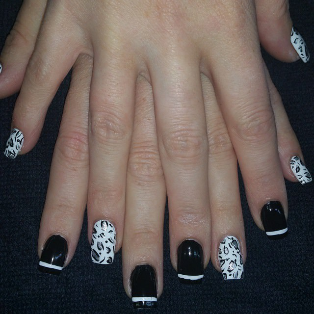 Animal Black and White Nail Design