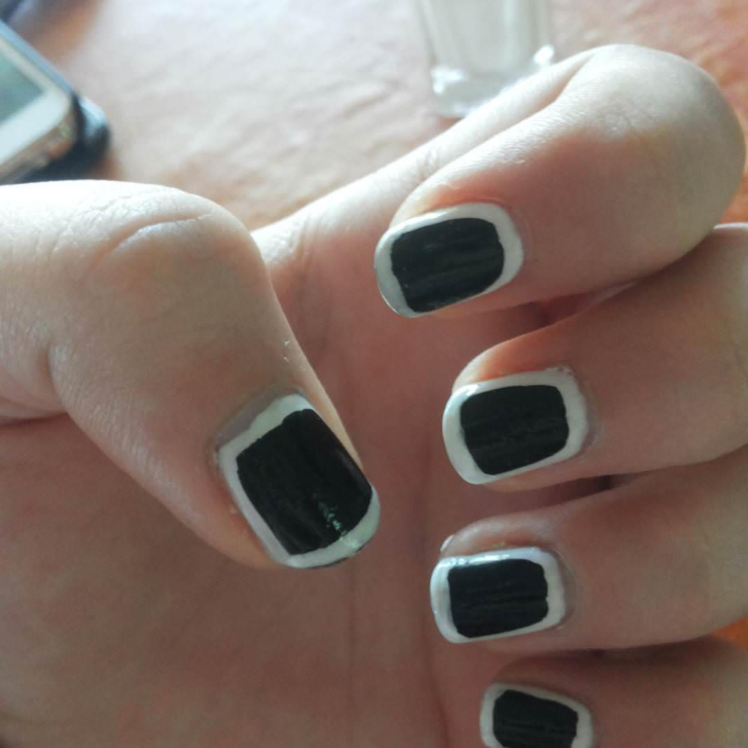 Attractive White and Black Nail Design