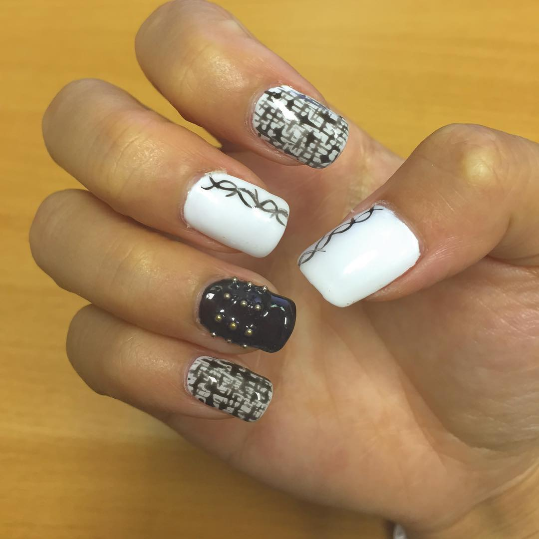 Modern Black and White Nail Design