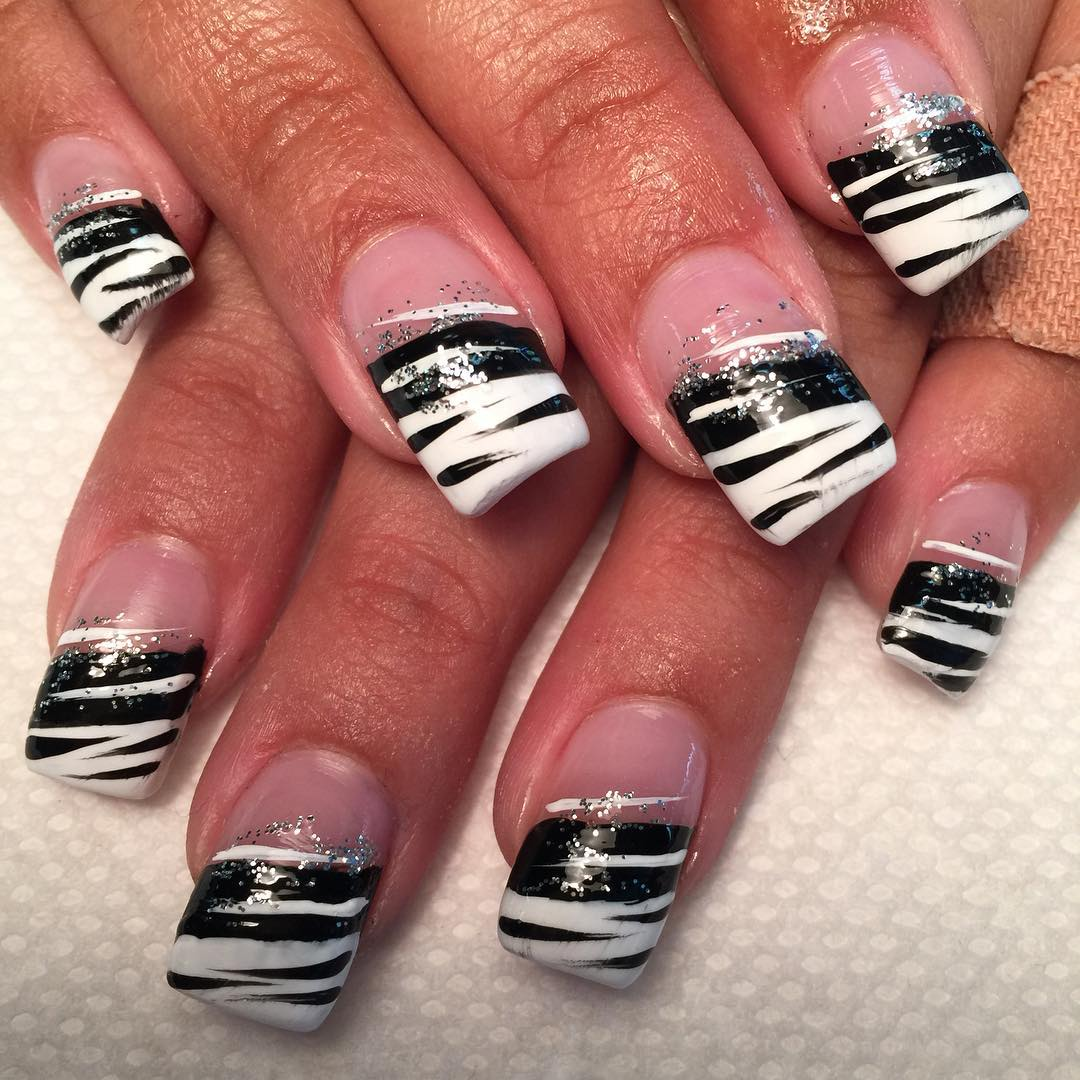 27 white and black nail art designs ideas design trends fashion black and white nail design prinsesfo Choice Image