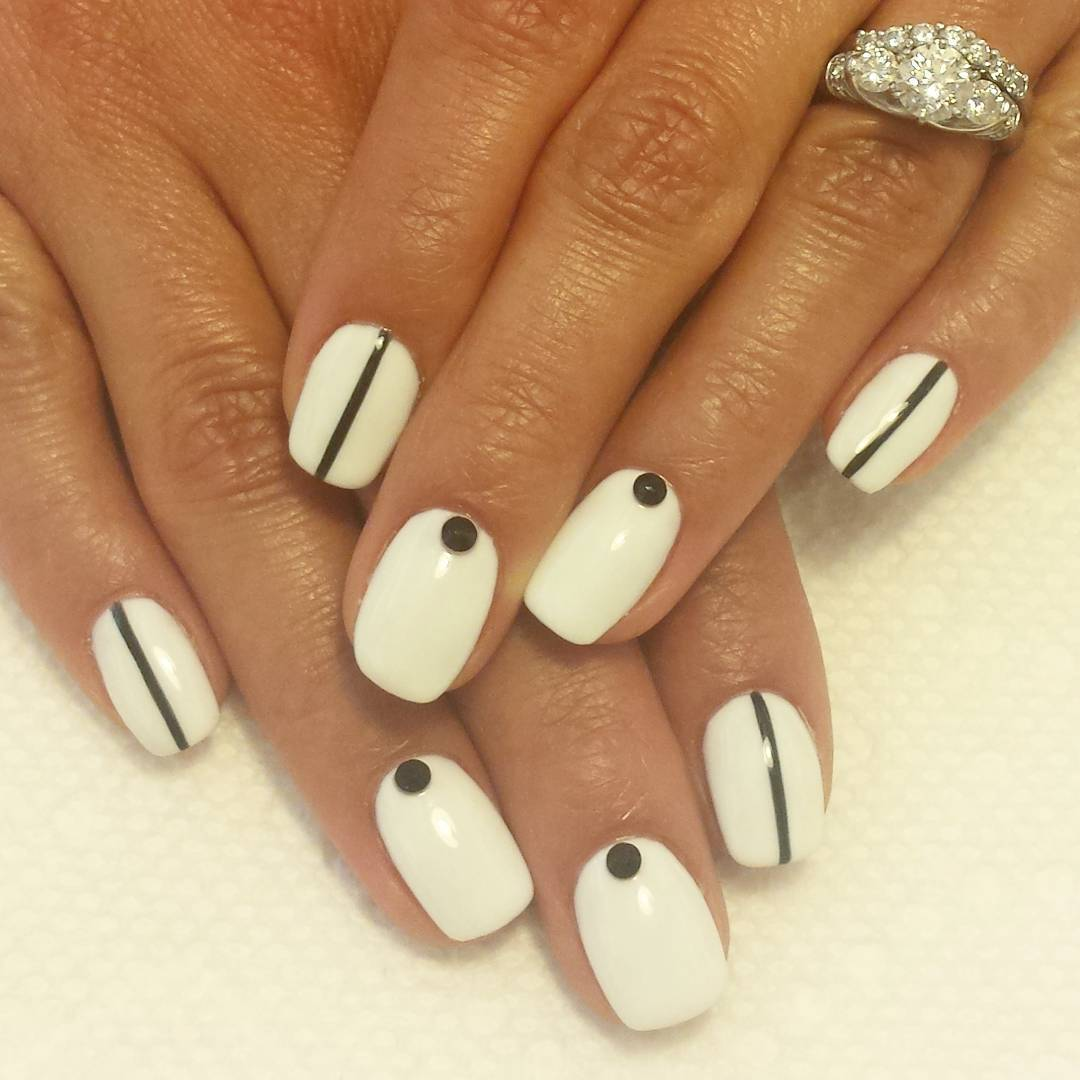Simple & Trendy White and Black Nail Design