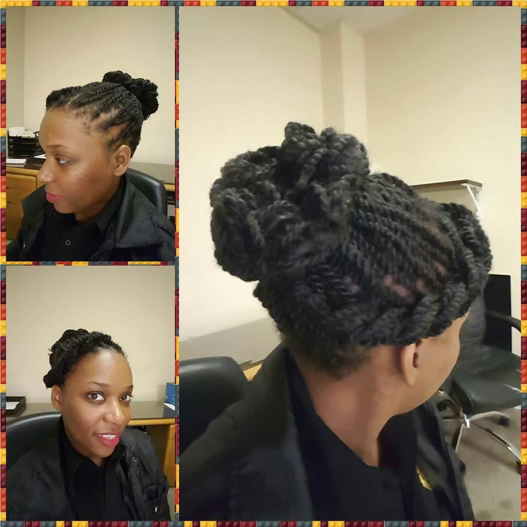 high bun twisted hair