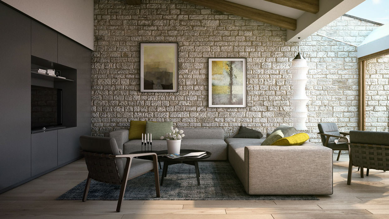 interior design solutions rock wall design stock photo image