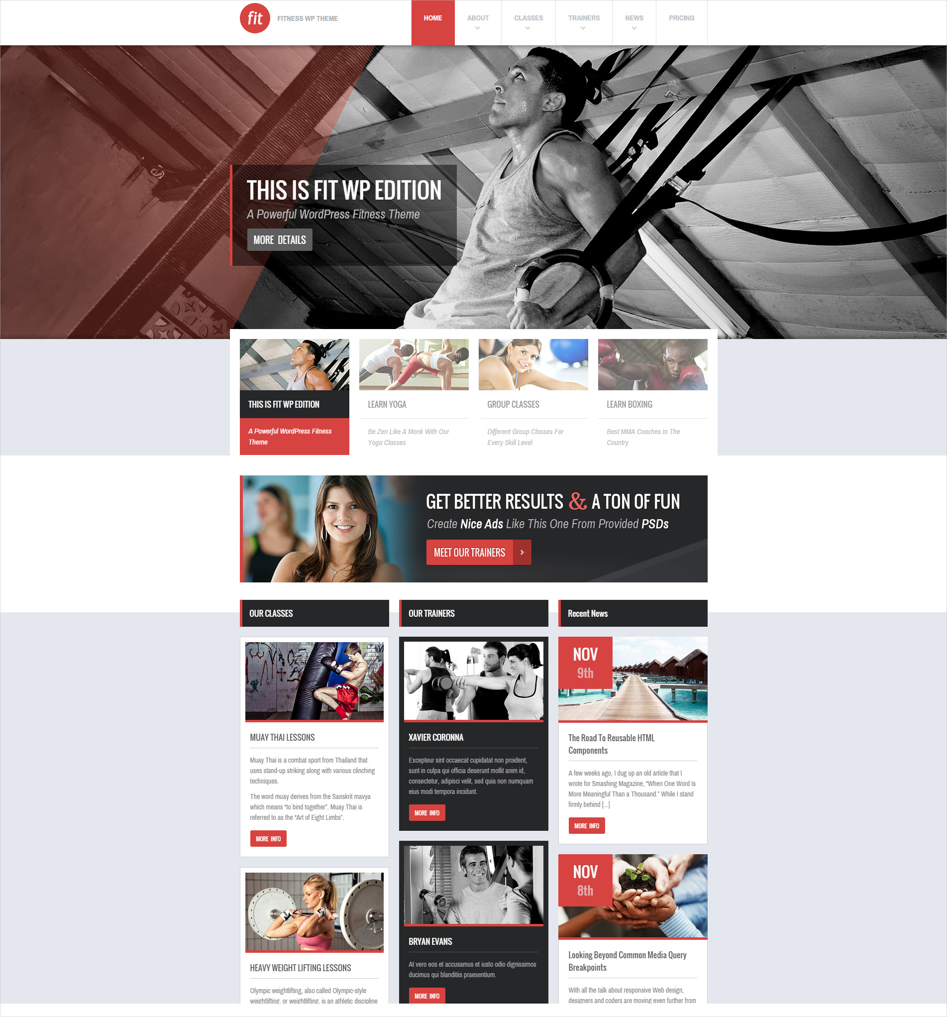 Elegant WordPress Fitness Theme