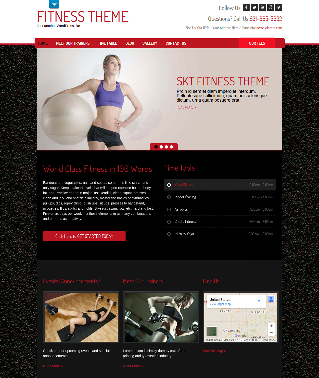 Mobile Friendly Fitness WordPress Theme