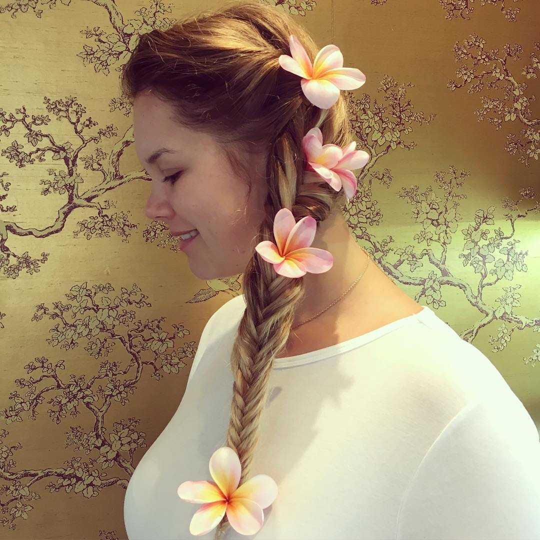 Decorated Side Braid With Flowers