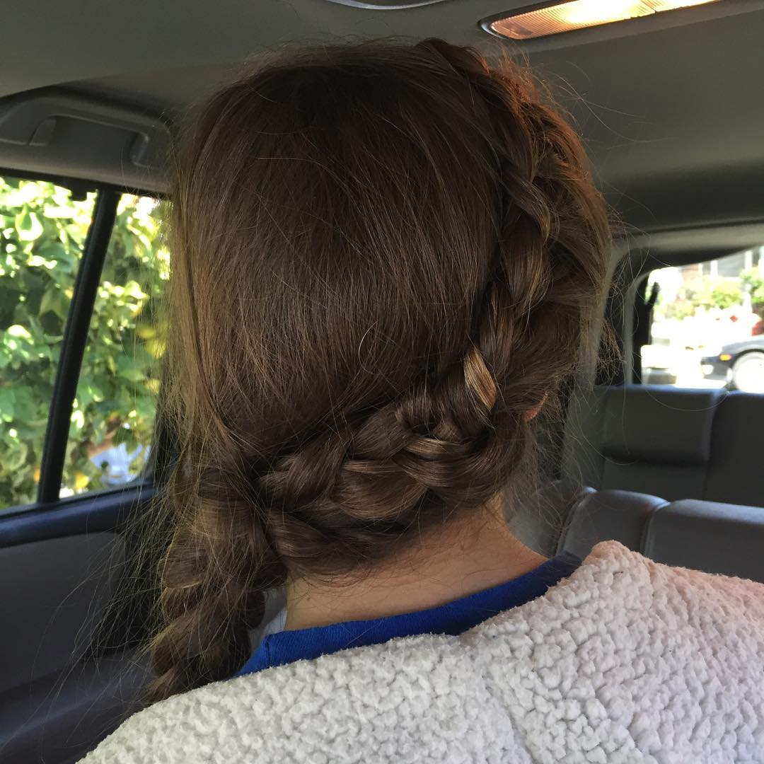 Messy side French Braid