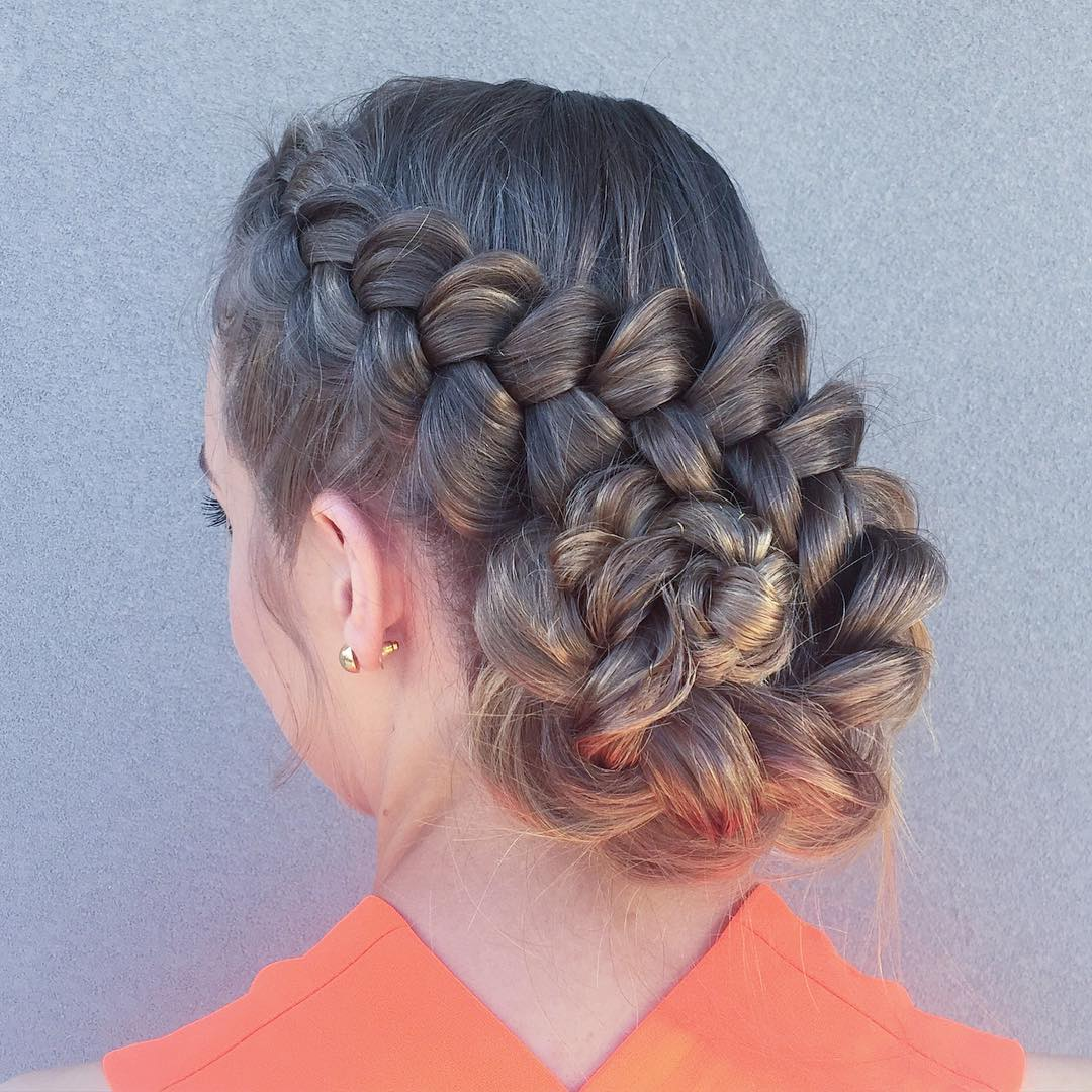 Side Braided Spiral Bun.