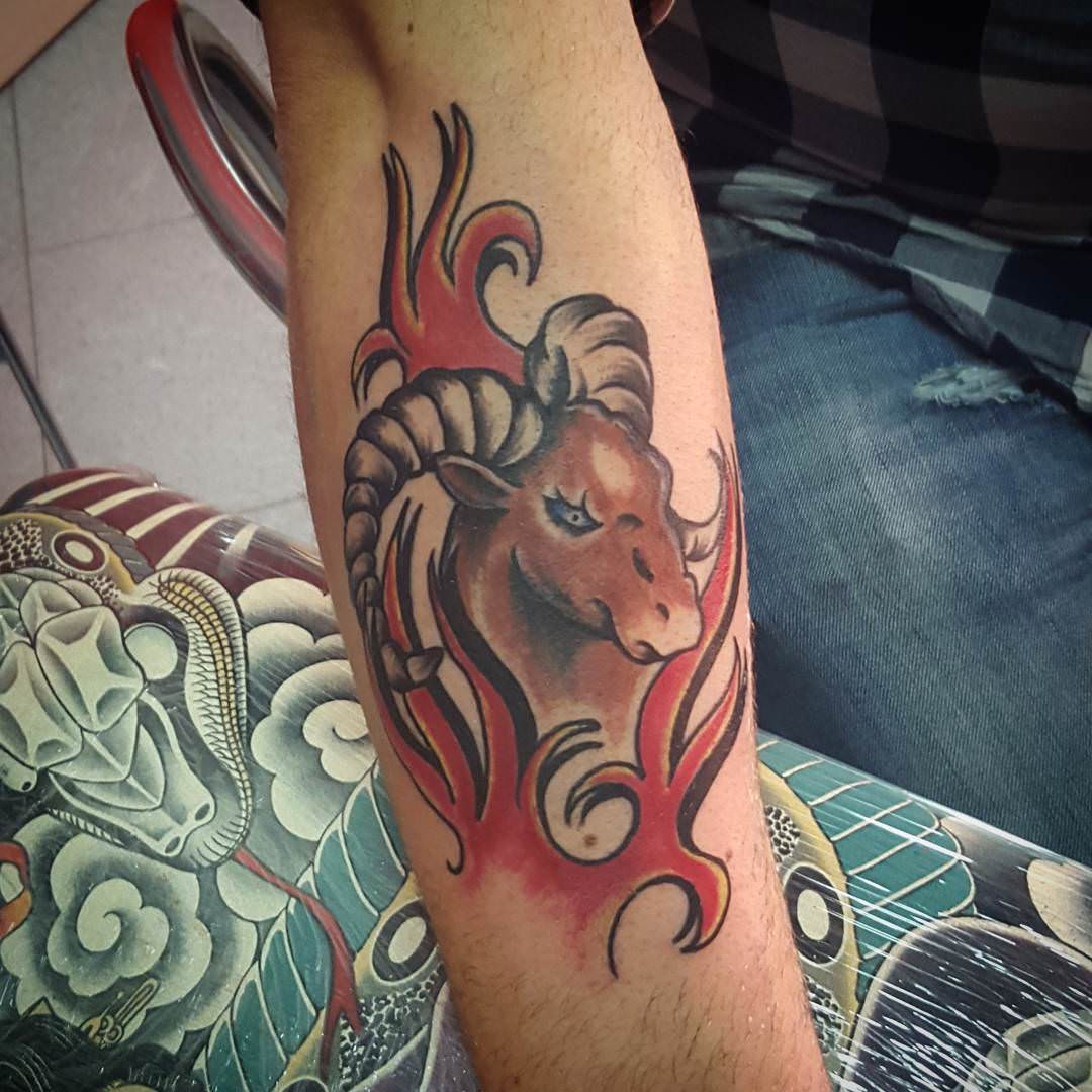 Red Color Aries Tattoo
