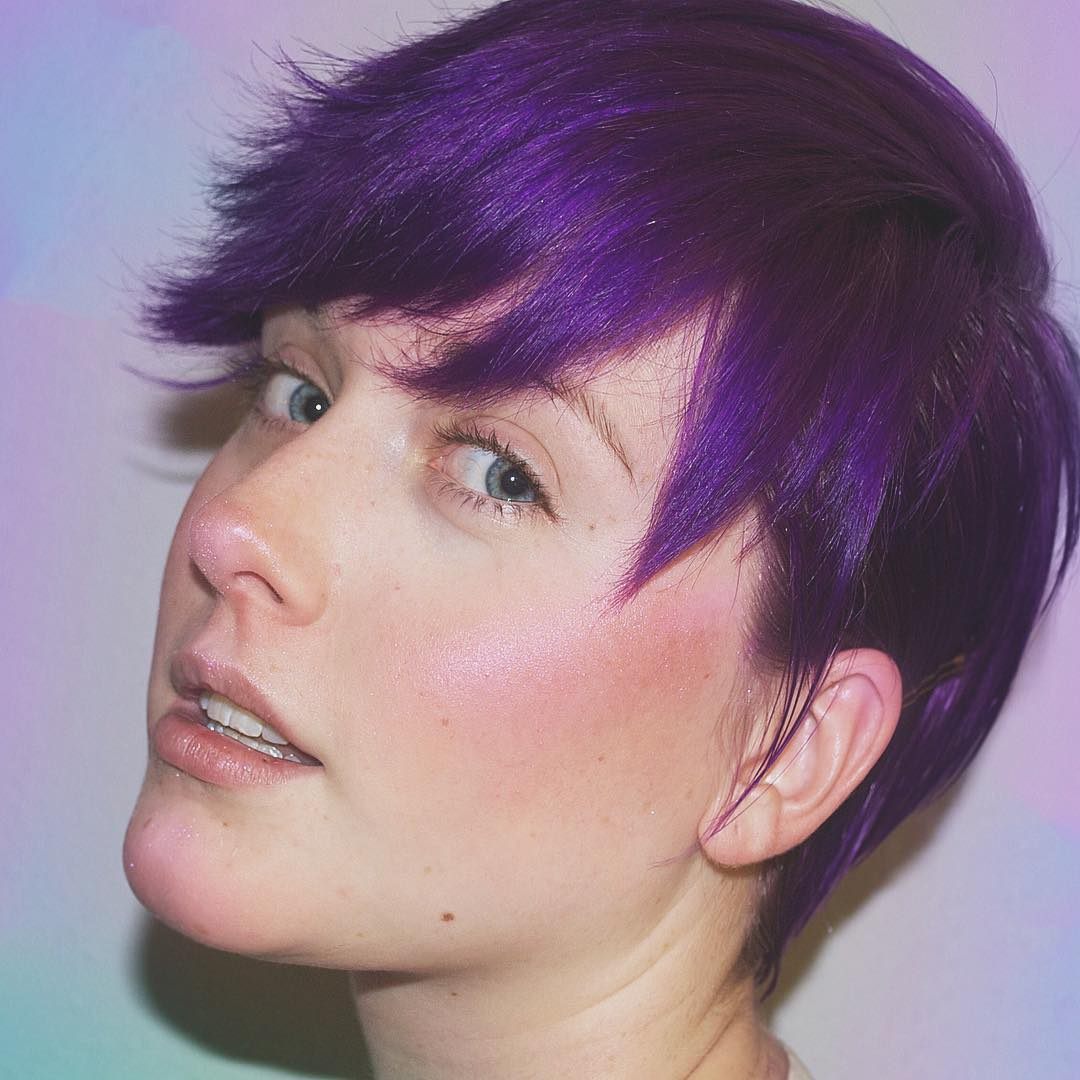 purple colored short hair