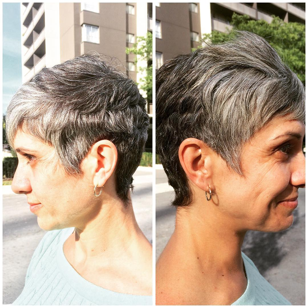 silver grey shag hair