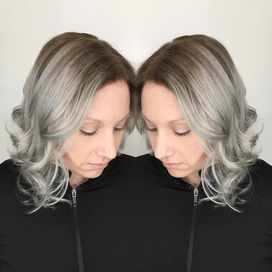 silver color hairstyle