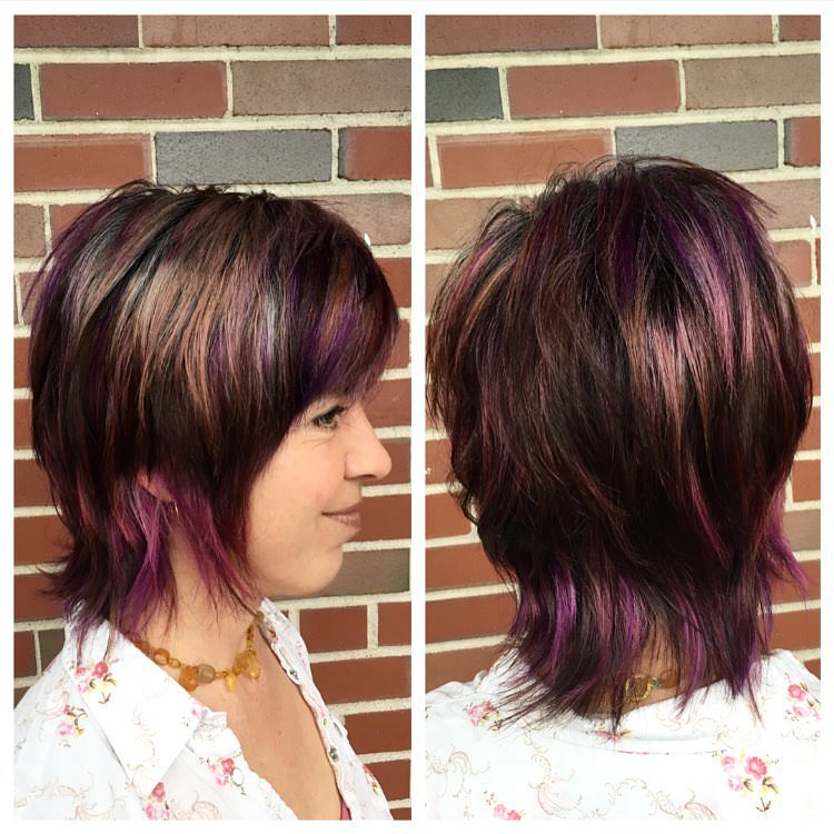 purple colored haircut
