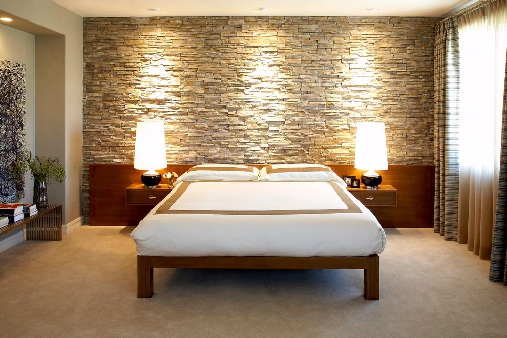 classy bedroom rock wall design