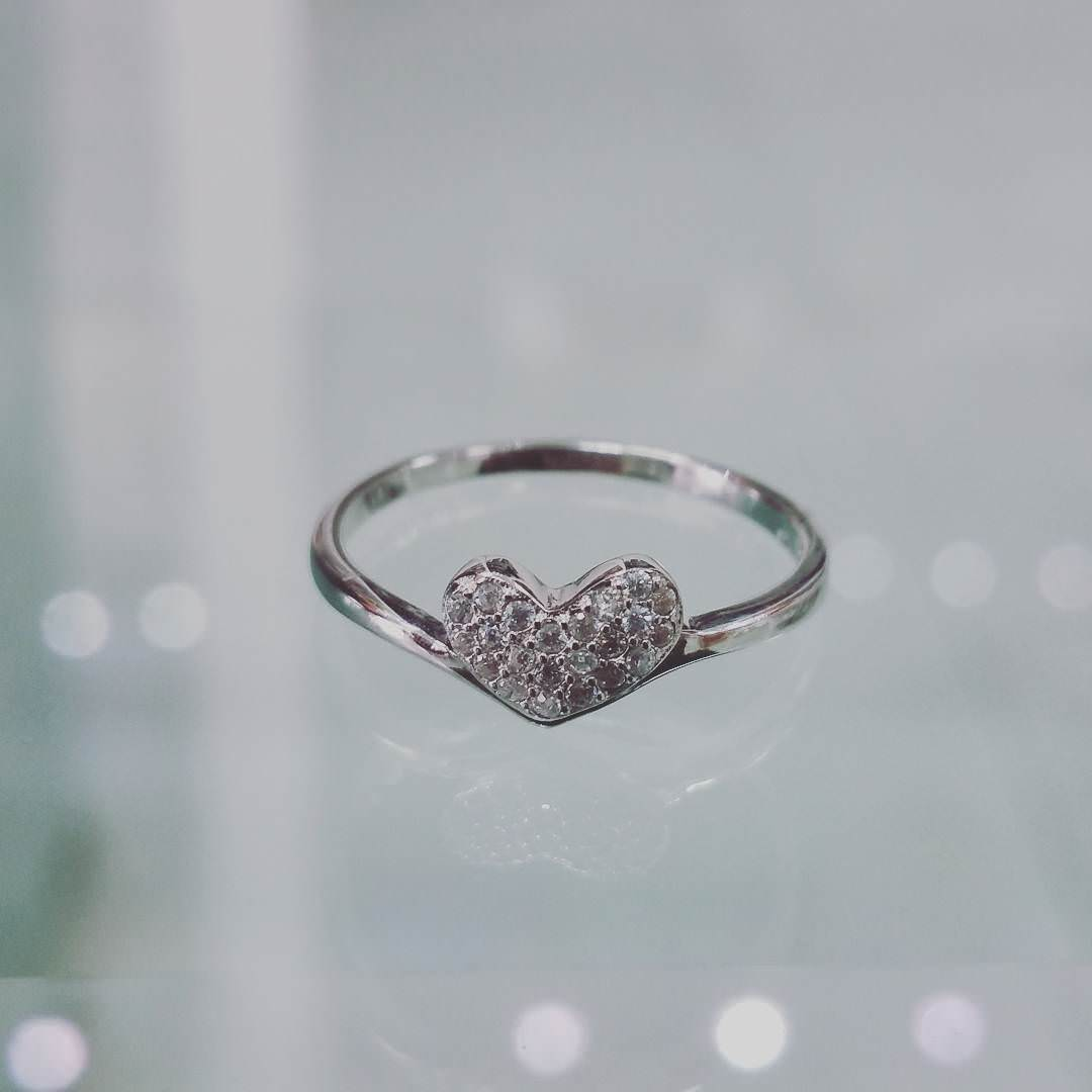 Heart Shaped Silver Engagement Ring Design