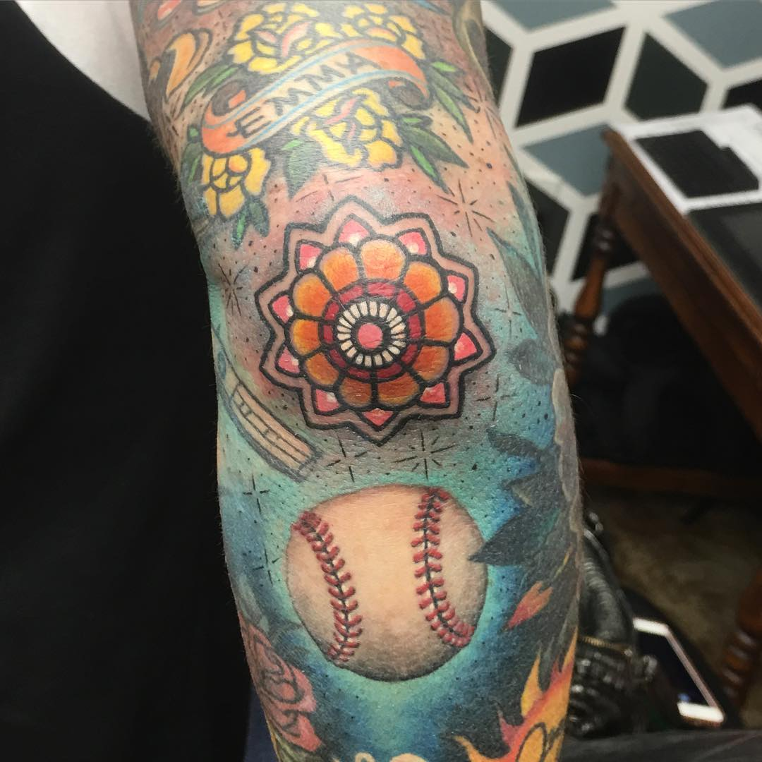 Colorful Baseball Tattoo