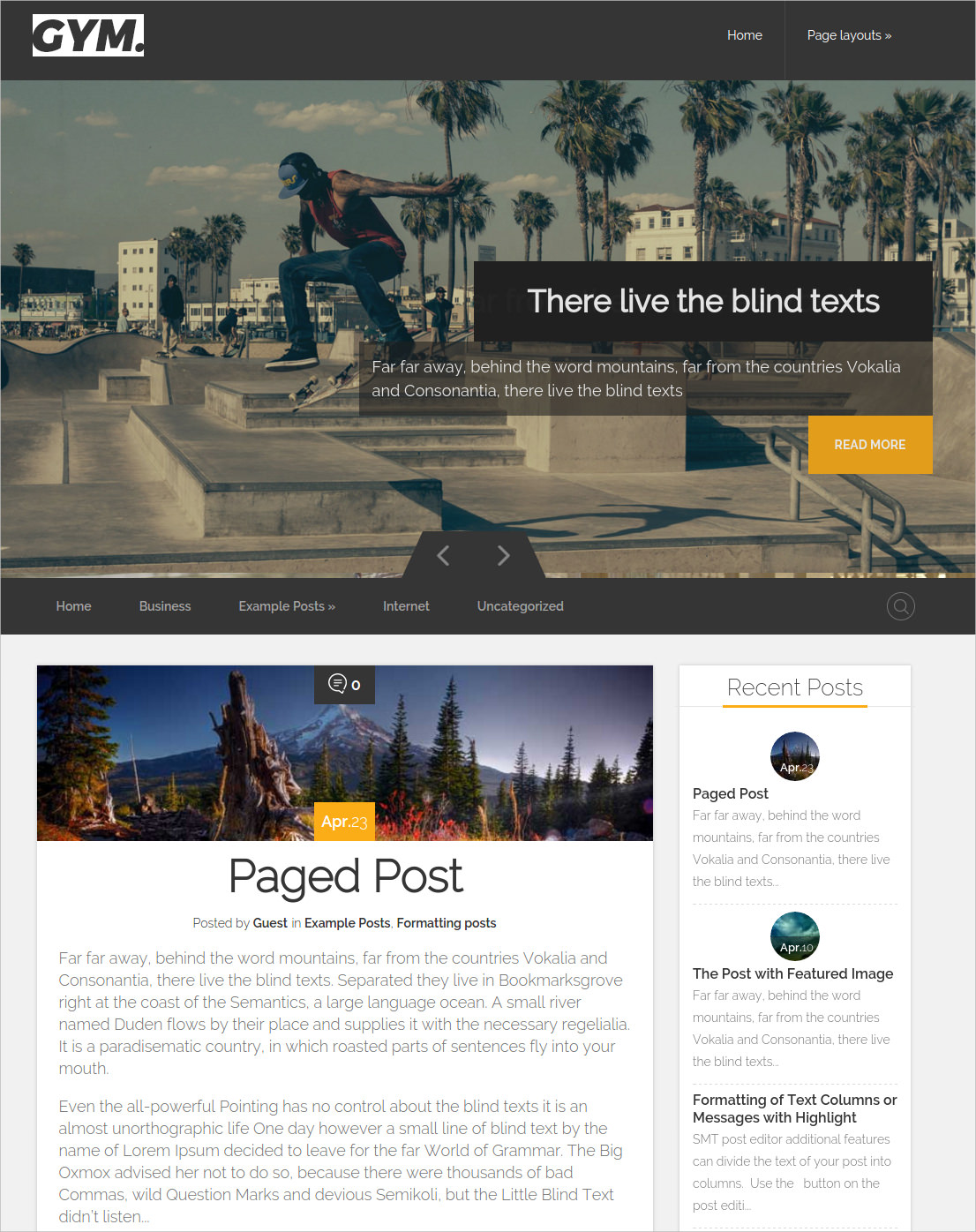 Bootstrap Sporting WordPress Theme