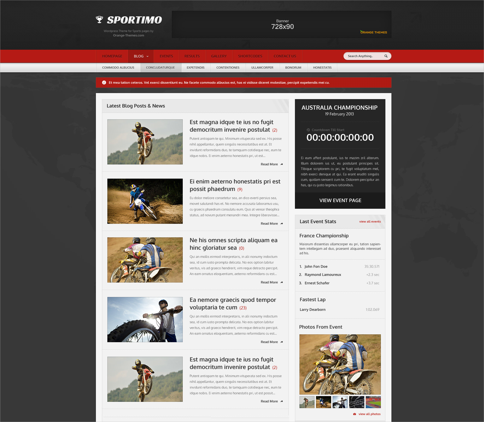 Sport & Events Magazine Theme